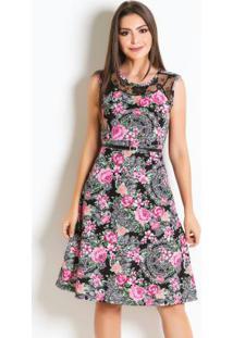 Vestido Floral Com Renda Moda Evangélica