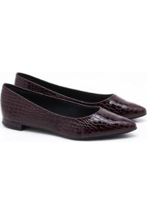 Sapatilha Charlote Shoes Croco Feminina - Feminino-Bordô