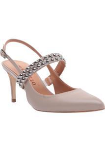 Sapato Chanel Com Aviamentos - Taupe - Salto: 7,5Cmcecconello
