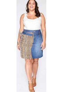 Saia Almaria Plus Size Blubetty Jeans Animal Print