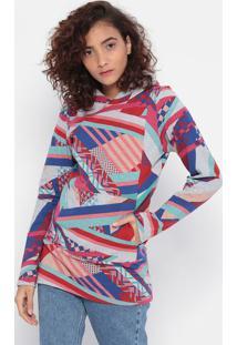 Blusão Geométrico Com Capuz- Cinza & Rosa- Malweemalwee