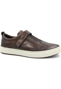 Sapatênis Couro Zariff Shoes Elastano Masculino - Masculino-Marrom