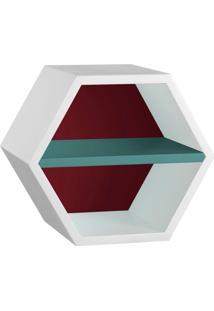 Nicho Hexagonal Favo Ii Com Prateleira Branco Com Bordo E Azul Claro