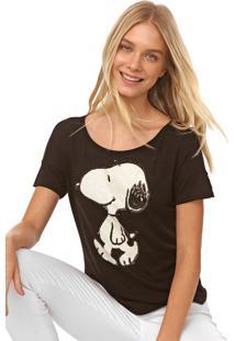 Blusa Cativa Snoopy Paetês Preta