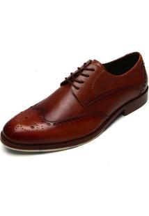 Sapato Social Couro Ferracini Recortes Caramelo