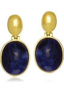 Brinco Le Diamond Pedra Natural Soldalita - Azul - Feminino - Dafiti