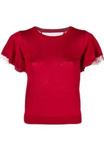 Red Valentino Camiseta Com Renda Nas Mangas De Cashmere E Seda - Vermelho