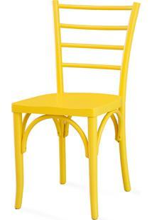 Cadeira De Madeira Colorida Torneada - Laca Amarelo - Charlotte - 40,5X49X88 Cm