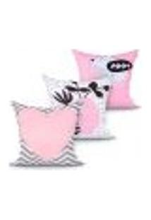Capa Almofada Rosa Estampada Para Quarto Kit Com 3 Unidades 45Cm X 45Cm Com Zíper