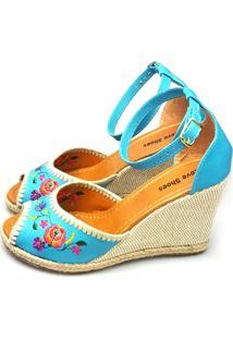 Anabela Love Shoes Frida Espadrille Bordados Floral Turquesa