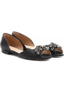 Sapatilha Couro Shoestock Pedras Feminina - Feminino-Preto