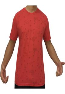 Camiseta Kzs Aleatoria Gola Redonda Vermelha