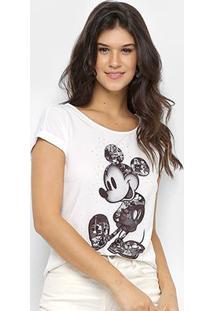 Blusa Disney Vintage Mickey Flamê Hotfix Feminina - Feminino-Branco