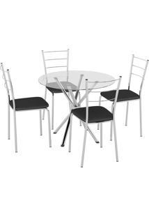 Conjunto Mesa Tampo Vidro C/ 4 Cadeiras Vinil Preto/Cromado Pozza