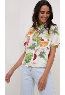 Camisa Estampada Com Bolso