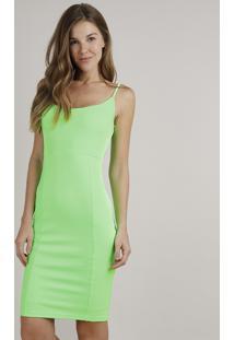 Vestido Feminino Midi Canelado Alças Finas Verde Neon