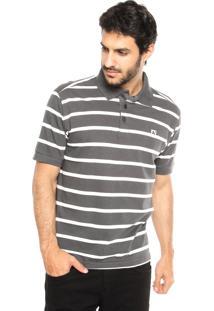 Camisa Polo Mr Kitsch Fio Tinto Cinza/Branca