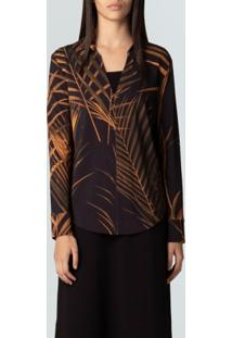 Camisa Ml Palm Leaf Gold-Preto/Mostarda - P