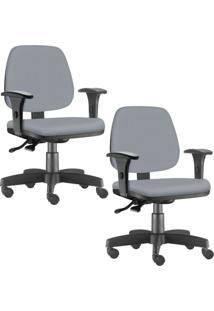 Kit 02 Cadeiras Giratórias Lyam Decor Job Corino Cinza - Tricae
