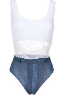 Amir Slama Maiô Em Renda E Jeans - Branco