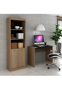 Escrivaninha E Estante Com 2 Portas Para Escritório-Ho-2952-Hecol - Avela / Onix