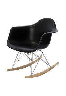 Cadeira Eames Com Braco Base Balanco Preto Fosco - 24503 Preto