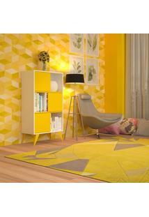 Estante Decorativa 3 Divisões Branca E Amarela Vivva Multivisão