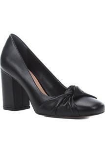 Scarpin Couro Shoestock Salto Alto Nó - Feminino-Preto