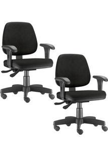 Kit 02 Cadeiras Giratã³Rias Lyam Decor Job Corino Preto - Preto - Dafiti