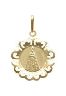 Pingente Ouro Nossa Senhora Aparecida Com Ródio - Unissex-Ouro