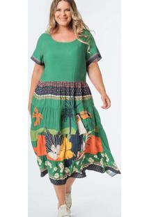 Vestido Almaria Plus Size Munny Midi Camadas Verde