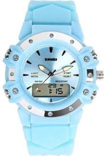 Relógio Skmei Anadigi Feminino - Feminino-Azul Claro