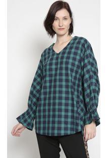 Blusa Xadrez Laã§O- Verde Escuro & Azul Escuro- Kwikwi