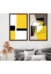 Quadro Com Moldura Chanfrada Abstrato Amarelo Madeira Escura - Mã©Dio - Multicolorido - Dafiti