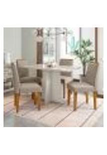 Conjunto De Mesa De Jantar Com Tampo De Vidro E 4 Cadeiras Ana Iii Veludo Linho Off White E Creme