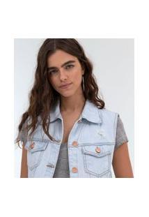 Colete Jeans Com Barra Desfiada | Blue Steel | Azul | Pp