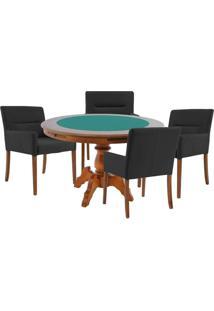 Mesa De Jogos Carteado Redonda Montreal Tampo Reversível Amêndoa Com 4 Cadeiras Vicenza Preto Fosco - Gran Belo