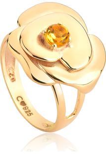 Anel De Prata 925 Banho Dourado Flor Camélia Com Gema Citrino-Coleção Camélia In Argento