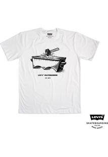 Camiseta Levis Man Skateboarding Estampa Collab Branco