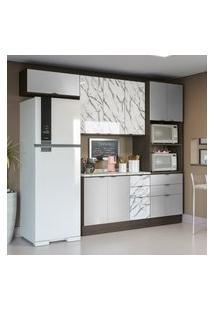Cozinha Modulada Kappesberg Cb538 Nox 5 Peças 8 Portas Onix E Steel