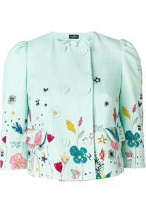 Elisabetta Franchi Jaqueta Cropped Floral - Green