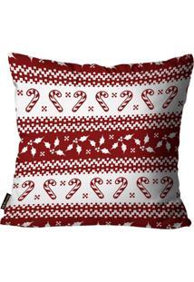 Capa Para Almofada Mdecore Natal Bengala Vermelha 45X45Cm