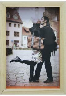 Porta-Retrato Wood Natural E Laranja 12X17Cm