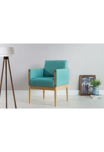 Poltrona Decorativa De Madeira Estofada - Poltrona Para Recepção Cor Azul Turqueza - Verniz Amendoa \ Tec.950 - Mariscal - 62X64X83 Cm