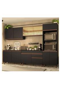 Armário De Cozinha Completa Madesa Reims 310001 Com Balcão E Tampo Preto/Rustic Preto