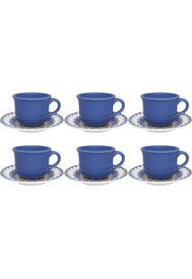 Conjunto 6 Xícaras De Chá Com Pires Floreal La Carreta Oxford