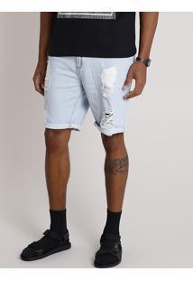 Bermuda Jeans Masculina Slim Destroyed Azul Claro