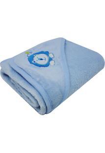 Cobertor Infantil Bordado Com Capuz- Azul Claro- 70Xniazitex