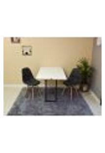 Conjunto De Mesa 120 X 75 Branca + 2 Cadeiras Botonê - Preta