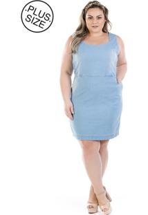 Vestido Jeans Regata Vinil Com Bolso Plus Size